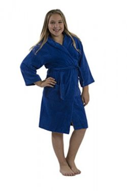 byLora Kids Hooded Spa Bathrobe Towels Boys, Royal Blue, Small