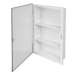 Recessed Mirrored Medicine Cabinet, 16 In. x 26 In, steel Housing & Shelves, Pack of 1