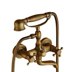 Beelee Wall Mount Tub Faucet with Hand Shower, Clawfoot Tub Brass Faucet,Antique Brass