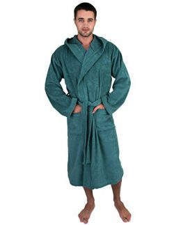 TowelSelections Men's Robe, Turkish Cotton Hooded Terry Bathrobe Medium/Large Deep Sea