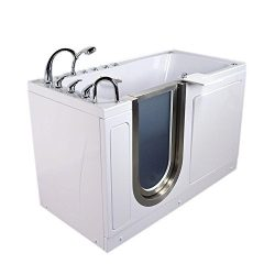 Ella H93218 Ultimate Acrylic Foot Massage+Heated Seat Walk-in Bathtub with Right Inward Swing Do ...