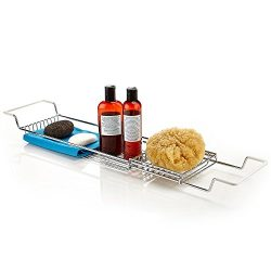Home Intuition Stainless Steel Over The Tub Expandable Shower and Bathtub Tray Caddy