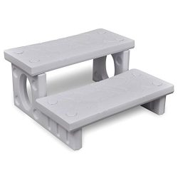 vidaXL Spa Hot Tub Steps Plastic White Multipurpose Non-Slip Reversible Treads