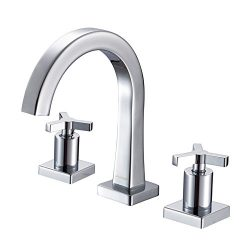 JOMOO 8 Inch Widespread Bathroom Faucet 3 Hole Two Handle Deck Mounted Waterfall Faucet Polished ...