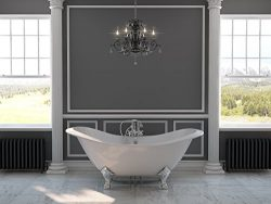 71″ Cast Iron Double Ended Slipper Tub with 7″ Faucet Hole Drillings & Chrome Fe ...