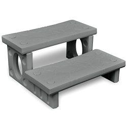 vidaXL Spa Step 2 Tiers Gray 13.4″ Hot Tub Bathtub Garden Yard Pool Ladder