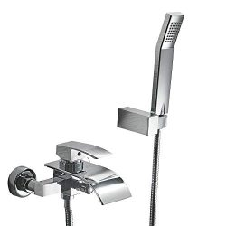 KINSE Wall Mounted Bathtub Faucets/Handheld Showerhead Set, Single Handle Bathtub Shower Faucet  ...