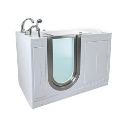 Ella A3107-HB Elite Acrylic Air Massage Walk-in Bathtub with Left Inward Swing Door, Fast Fill F ...