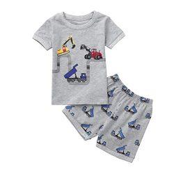 Hot Sale! Toddler Kids Baby Boys Dinosaur Pajamas Cartoon Print T Shirt Tops Shorts Outfits Set  ...