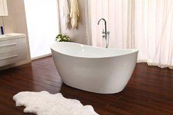 Modern Pedestal Style Soaking Bathtub Tub w/Floor Standing Faucet SD023D