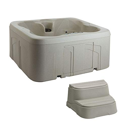 LifeSmart Spas Simplicity 4-Person Plug & Play Hot Tub Spa with Cover + Steps