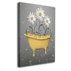 Okoart Daisy Flowers Bathtub Yellow Bubbles Canvas Wall Art 16x20inch Picture Print Paintings Mo ...