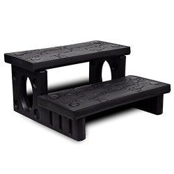 vidaXL Spa Hot Tub Steps Plastic Black Multipurpose Non-Slip Reversible Treads