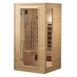 BetterLife BL9101 1-2 Person Ceramic Infrared Sauna, 39 by 36 by 72-Inch, Natural Hemlock Wood F ...