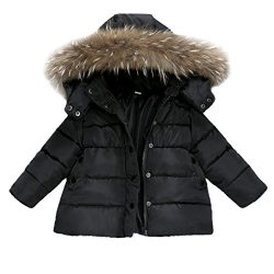 Baby Boys Girls Autumn Hooded Snowsuit Winter Warm Fur Collar Hooded Down Windproof Jacket Outer ...