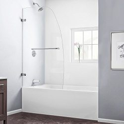 DreamLine Aqua Uno 34 in. W x 58 in. H Frameless Hinged Tub Door in Brushed Nickel, SHDR-3534586-04