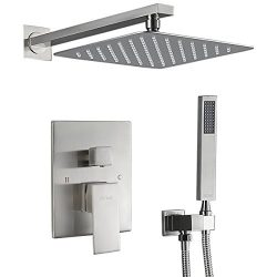 Esnbia Shower System, Brushed Nickel Shower Faucet Set with Valve and 12″ Rain Shower Head ...