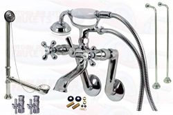 Chrome Tub Mount Clawfoot Bathtub Filler Faucet Kit W/Hand Shower, Drain, Water Supplies And Flo ...