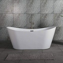 Woodbridge B-0010 67″X32″ Acrylic Freestanding Bathtub Tub with Brushed Nickel Overf ...