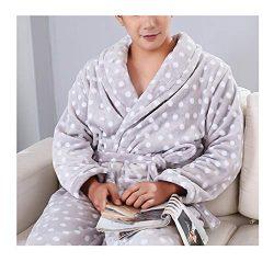 FEMAROLY Winter Soft Warm Bathrobe Plush Collar Shawl Robe Sleepwear for Men IX2592 XL