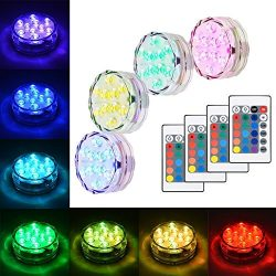 Litake Submersible LED Lights, RGB Multi Color Waterproof Battery Powered Lights with IR Remote  ...