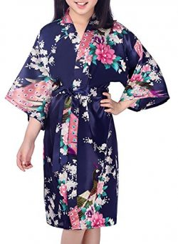 Admireme Girls Peacock Satin Kimono Robe Bathrobe Nightgown For Spa Party Wedding Birthday Dark  ...