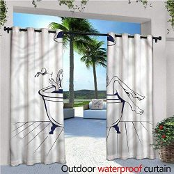 warmfamily Wine Outdoor Privacy Curtain for Pergola Young Woman in Bathtub Art Thermal Insulated ...