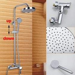OUBONI Wall Mount 8″Shower Head Faucet Set With Handheld Shower +Valve with Diverter