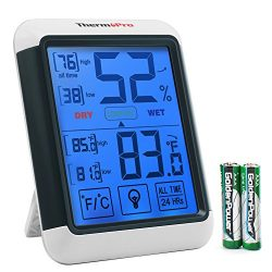 ThermoPro TP55 Digital Hygrometer Indoor Thermometer Humidity Gauge with Jumbo Touchscreen and B ...
