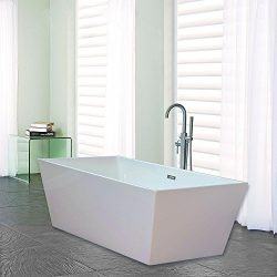 Woodbridge B-0003 Acrylic Freestanding Bathtub Contemporary Soaking Tub, White
