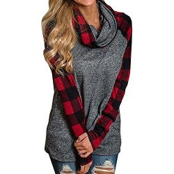Clearance Sale! Wobuoke Womens Turtleneck Tops Plaid Solid Color Shirts Tunic Long Sleeve Pullov ...