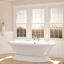 Luxury 72 inch Freestanding Tub with Vintage Tub Design in White, includes Pedestal Base and Bru ...
