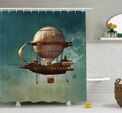 Ambesonne Fantasy Decor Shower Curtain, Surreal Sky Scenery with Steampunk Airship Fairy Sci Fi  ...