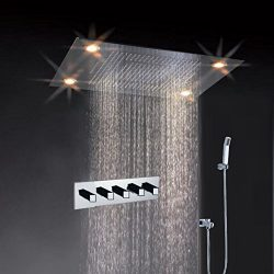 Cascada Classic Design 31 Inch (600mmx800mm) Large Rain Shower Set with Waterfall LED Rectangle  ...