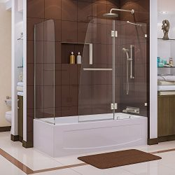 DreamLine Aqua Lux 56-60 in. W x 30 in. D x 58 in. H Frameless Hinged Tub Door with Return Panel ...