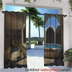 familytaste Landscape Exterior/Outside Curtains Inside View of A Spa Hotel with Bathtub in The C ...
