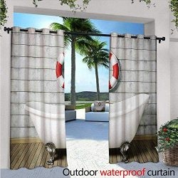 Vintage Outdoor- Free Standing Outdoor Privacy Curtain Bathtub in a Room Grunge Wall Classic Flo ...