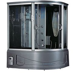 Siena Steam Shower Sauna With Jetted jacuzzi Whirlpool massage (Left-Side, Gray)