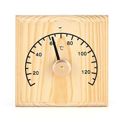 Asixx Sauna Thermometer, 0~140℃ Sauna Room Thermometer Wooden Thermometer Temperature Display fo ...