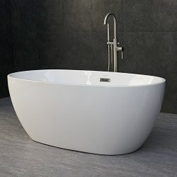 WOODBRIDGE 59″ Modern Oval Acrylic Freestanding Bathtub Comfortable Soaking, Brushed Nicke ...