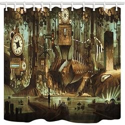 NYMB Science Fiction Shower Curtain, Machinery Clock Steampunk Steel Industrial City, Mildew Res ...