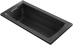 KOHLER K-1948-7 Archer ExoCrylic 66-Inch x 32-Inch Drop-In Bath with Reversible Drain, Black