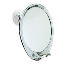 JiBen Fogless Shower Mirror with Power Locking Suction, Built-in Razor Hook and 360 Degree Rotat ...