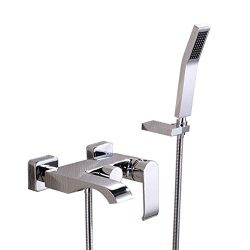 Bathroom Wall Mount Tub Filler Faucet with Handheld Shower modern, Polished Chrome