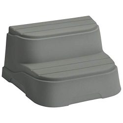 LifeSmart 2 Step Non Slip Rectangle Square Spa Hot Tub Straight Steps, Taupe