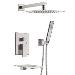 EMBATHER Shower System with Waterfall Tub Spout, Shower Faucet Set with 12″ Rain Shower He ...