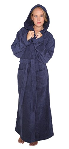 Arus Women's Pacific Style Full Length Hooded Turkish Cotton Bathrobe L Navy Marine