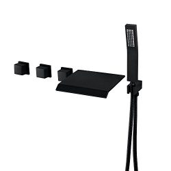 Bathroom Bathtub Faucet System With Tub Spout,Handshower Integrated Style Black Painting Wall In ...