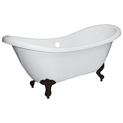 Freestanding 68″ Bathtub Acrylic Double Ended Slipper with NO Faucet Holes & Oil Rubbe ...