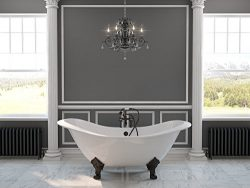 71″ Cast Iron Double Ended Slipper Tub with 7″ Faucet Hole Drillings & Oil Rubbe ...